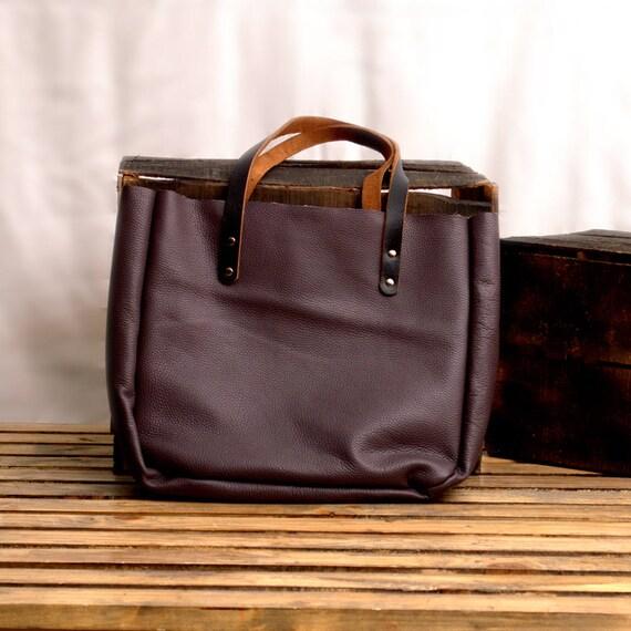 332ffae8d5f Purple Leather Tote Office bag Leather Laptop Handbag   Etsy