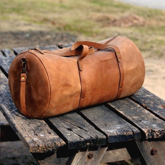 Men/'s Marron Vintage Léger en cuir de vachette Voyage bagages Duffle Gym Sacs