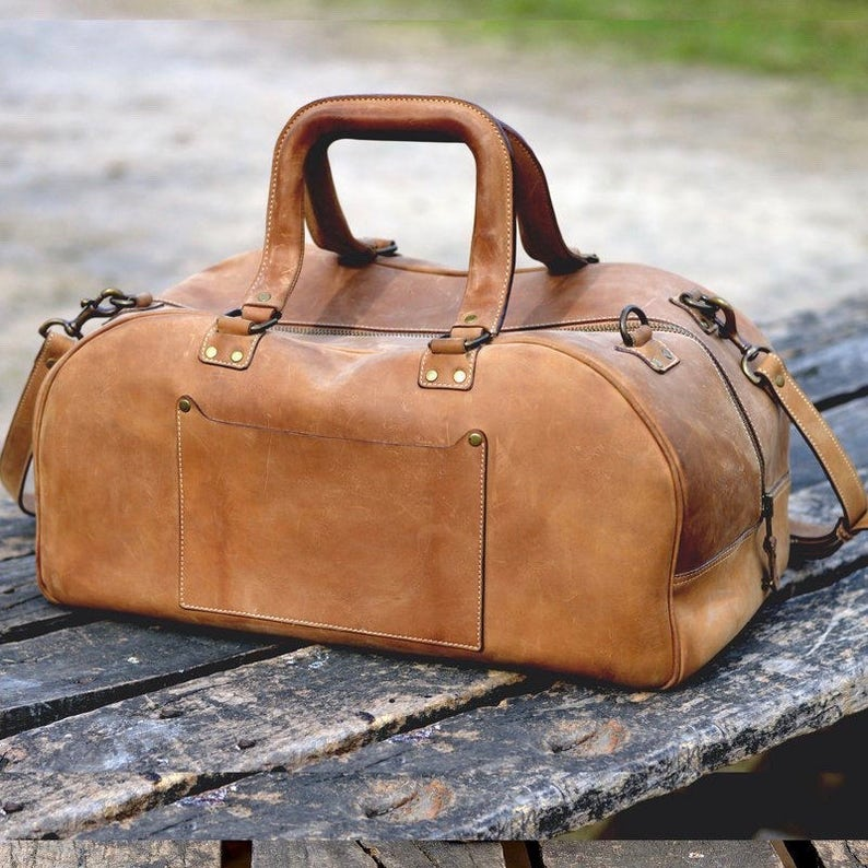 b196bb7f4a Leather Duffel Bag Laptop Compartment   Vintage Cowhide