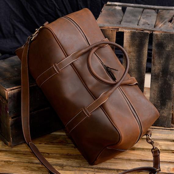 8ca8a821a880 Leather Duffel Bag   Vintage Look Weekender Travel bag   Carry