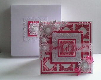 "60TH Birthday Card - Boxed -Pink/White 7"" x 7"""