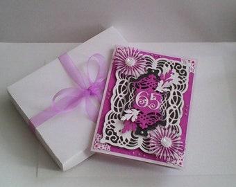 "65th Birthday Card - Purple/White/Black - Boxed - 7"" x 5"""