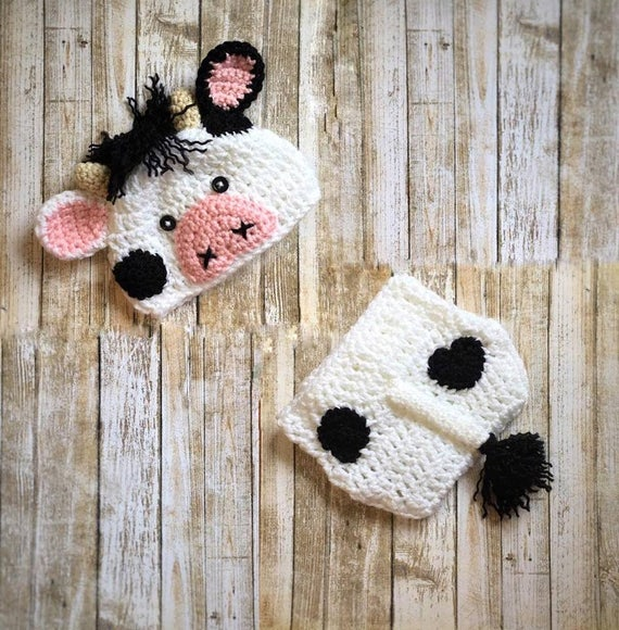 Baby Cow Outfit Crochet Cow Set Baby Cow Hat Farm Animal Etsy