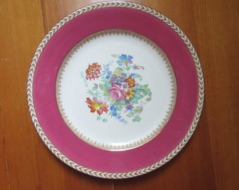 Vintage! 1950s Wedgwood & Co Ltd Shabby Chic Decorative Plate Flowers - Made in England