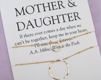 50th Birthday Gift For Mom Necklace Mother Daughter Gold Cirlces