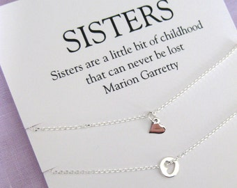 Sister Gift Solid Sterling Silver Necklace 2 Sisters Jewelry Birthday 30th For Her