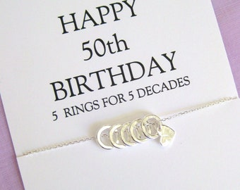 50th Birthday For Women Gift Sister Necklace Gifts Her Solid Sterling Silver