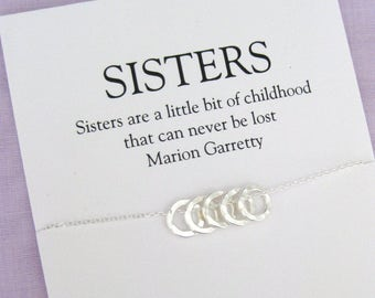 Sister Necklace Solid Sterling Silver Gift 50th Birthday For Women Gifts Her