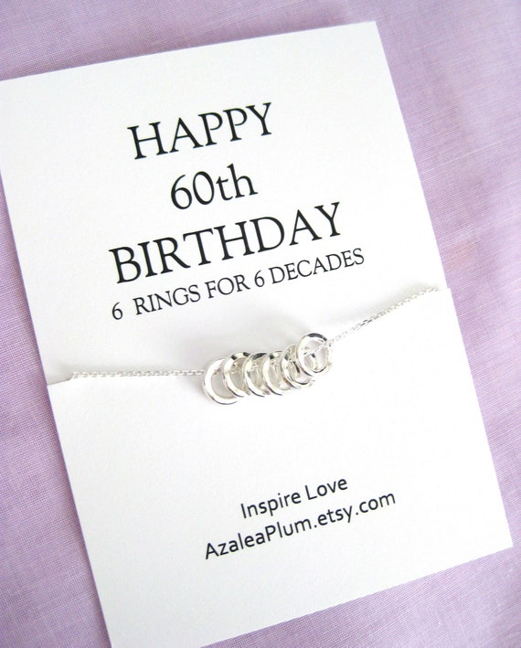 60th Birthday Gifts For Women Solid Sterling Silver Necklace