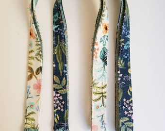 Rifle paper co lanyard, Cotton and steel lanyard, Amalfi Herb garden fabric lanyard, floral lanyard, Teachers lanyard, Teachers gift