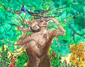 "Sensual Art Erotic Surrealism Romantic Nude Art Prints ""Divine Garden"" Visionary Art Painting Watercolor Paintings Artwork Art Couple Love"