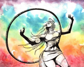 "Art ""Exhilaration"" Watercolor Painting Hula Hoop Art Art Original Painting Rainbow Painting Rainbow Watercolors Hoop Painting Dancer Art"