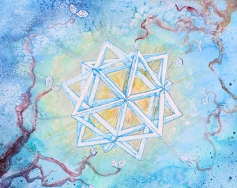 "Sacred Geometry Print Geometric Artwork ""Organic Circuit"" Art Watercolor Painting Abstract Art Watercolor Print Crystal Art Herkimer Blue"
