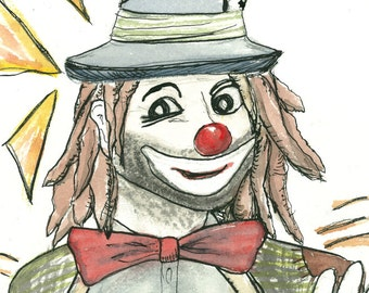 "Hobo Clown Art Watercolor Painting Clown Painting Prints ""Mr. Slick"" Contemporary Art Work Circus Art Watercolor Clown Dreadlock Clown Art"