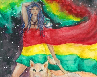 "Lion and Woman Print Poster Art ""The Goddess and the Lioness"" Reggae Art Watercolor Print Watercolor Painting Rasta Art Visionary Art Gift"