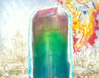 "Crystal Art Tourmaline Art Phoenix Art Navajo Art Fine Art Print ""Rainbow Guardian"" Watercolor Painting Poster Metaphysical Artwork Poster"