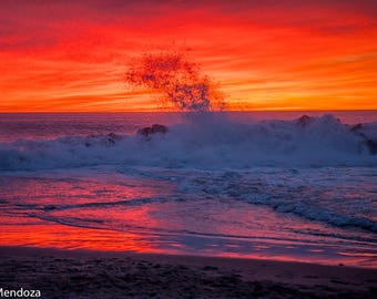 "Photography Print ""Fire Skies"" Fine Art Photo Ocean Art Beach Art Ocean Photo Beach Photo Sunset Art Sunset Photo Sunset Print Ocean Print"