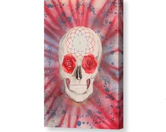 "Giclée Canvas Skull Art ""Eve of Awakening"" Original Painting Skull Painting Watercolor Painting Watercolor Art Visionary Art Contemporary"