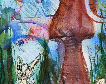 """Mushroom Art Fairy Art Artwork """"Sacred Garden"""" Print Contemporary Art Unique Gifts Birthday Gifts Abstract Paintings Watercolor Painting"""