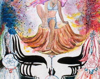 "Grateful Dead Art Painting Art Print ""Face Your Goddess Mandala"" Dreamcatcher Unique Gift Watercolor Painting Steal Your Face Stealie Woman"