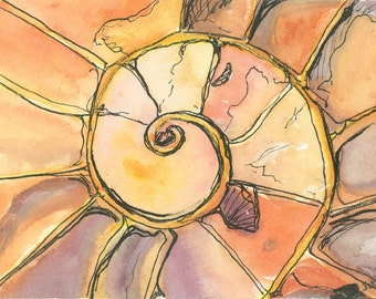 """Fossil Art Prints """"Ammonite"""" Spiral Art Watercolor Painting Contemporary Art Work Abstract Paintings for Sale Unique Gifts Birthday Gifts"""