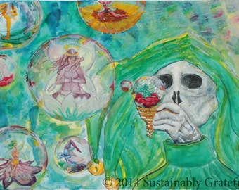"""Fairy Art Skeleton Art Skull Art Artwork """"Country Visions"""" Prints Contemporary Art Unique Gifts Birthday Gifts Abstract Paintings Watercolor"""