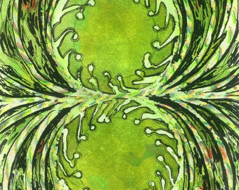 """Abstract Art Green Interior Decor Artwork """"Mitosis"""" Painters Prints Contemporary Art Unique Gifts Birthday Gifts Abstract Watercolor Art"""