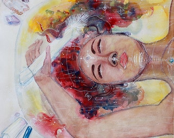 "Watercolor Painting ""Homecoming"" Original Art Metaphysical Art Crystal Art Contemporary Art Visionary Art Nebula Art"