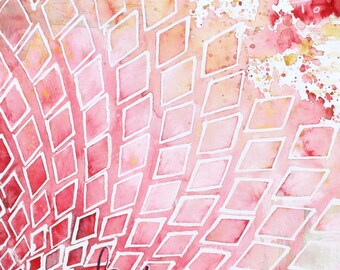 "Art Artwork ""Kiss"" Print Romantic Art Anniversary Gift Love Art Valentine's Day Print Inspirational Art Geometric Pink Red Word Art Sensual"
