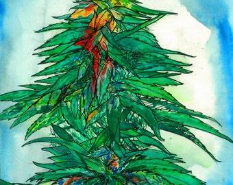 "Art Work Watercolor Painting ""Opal Dawg"" Original Art Cannabis Art Original Painting Contemporary Art Opal Art Surrealism Painting 420 Art"