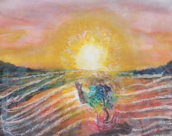 "Art Artwork ""Awareness"" Original Meditation Art Watercolor Painting Watercolor Gift Ocean Art Sunset Art Inspirational Art Chakra Art Zen"