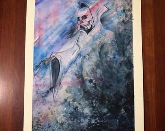 "Reaper Art ""Reaper Apparition"" Grim Reaper Death Art Scythe Art Cloak Sickle Collaborative Art Grateful Dead Art Skeleton Painting Original"