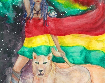 "Original Art ""The Goddess and the Lioness"" Watercolor Painting Rasta Art Visionary Art Contemporary Art Work Unique Gifts Prints Mom Dad"