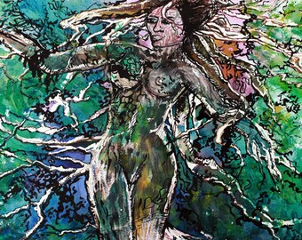 "Goddess Art Artwork ""The Rooted Woman"" Prints Contemporary Art Dreadlock Art Tree Art Woman Print Abstract Paintings Watercolor Painting"