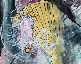 """Watercolor Artwork """"Kunzite Still Life"""" Original Painting Paintings for Sale Abstract Art Famous Artist Contemporary Art Gifts"""