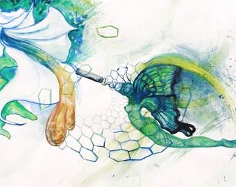 "Original Painting ""Nectar Nymph"" Cannabis Art Watercolor Painting 710 Art Work Contemporary Art Original Artwork Medicinal Marijuana Art"