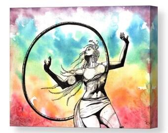"Canvas Art ""Exhilaration"" Watercolor Painting Hula Hoop Art Art Original Painting Rainbow Painting Rainbow Watercolors Hoop Painting Dancer"