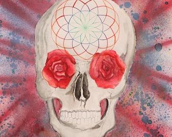 "Skull Art ""Eve of Awakening"" Original Painting Watercolor Painting Watercolor Art Visionary Art Contemporary Art Unique Gift Psychedelic Art"