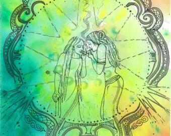 """Tribal Art Watercolor Painting Rastafaari Art Original Painting """"Generations of Harmony Mandala"""" Visionary Art Fine Art Cannabis Art Dreads"""