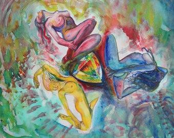 """Art Watercolor Painting """"Opale Sisterhood"""" Original Art Visionary Art Original Painting Contemporary Art Opal Art Surrealism Painting Nude"""