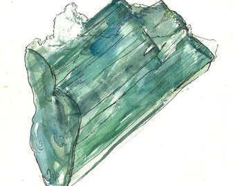 "Crystal Artwork ""Green Tourmaline"" Print Contemporary Art Unique Gifts Birthday Gifts Abstract Paintings for Sale Watercolor Painting Art"