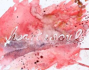 "Romantic Art Love Artwork ""Heart & Soul"" Print Anniversary Gift Love Art Valentine's Day Print Contemporary Art Unique Gifts Pink Red Purple"