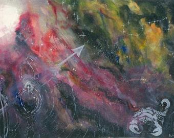 "Poster Art Watercolor ""Scorpio and Sagittarius"" Painting Visionary Art Work Abstract Art Famous Artists Artwork Abstract Paintings Painters"