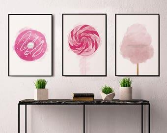 Candy Print, Kitchen Decor, Party Decor, Set Of 3 Prints, Candy Art