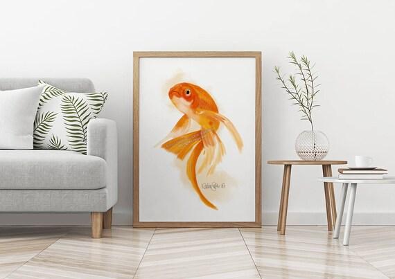 Goldfisch Druck Wand Fisch Kunst Wohnzimmer Wand Kunst Etsy