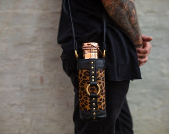 The Eco Bottle Holster ~ Gold & Leopard | Reusable Bottle Carry Bag