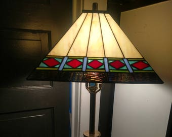 Mission Style Leaded Art Glass Lamp