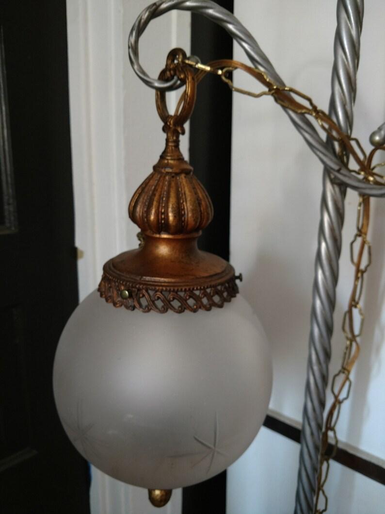 Vintage Glass Swag Lamp