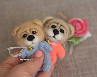 Pocket felted Teddy Bear, Needle felted animals, Felt little toy, Felt toy bear, felt ornaments, talisman Bear cub, Christmas gift,cute toy