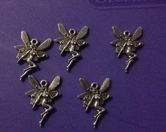 5pc antique silver fairy charm